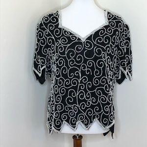 Vtg Laurence Kazar Black Silk Pearl Beaded Top XL